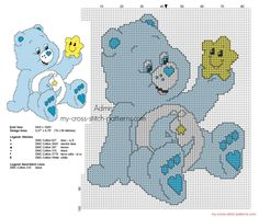 Small back stitch cross stitch pattern Bedtime Bear from Care Bears