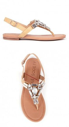 Flat sandals decorated in sparkling crystal stones along the t-straps. Includes an adjustable ankle closure.
