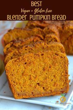 A Vegan Blender pumpkin bread recipe that is baked to perfection! The moist pumpkin cake has a crunchy top coating of cinnamon and sugar and is a real crowd pleaser! It cannot get easier than Pains Sans Gluten, Vegan Bread, Gluten Free Pumpkin Bread, Healthy Pumpkin Bread, Vegan Butter, Vegan Pumpkin Muffin, Dairy Free Pumpkin Recipes, Pumpkin Loaf, Pumpkin Chocolate Chip Bread