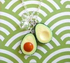Sliced Avocado Necklace with Crystals by kawaiiculture on Etsy, $30.00