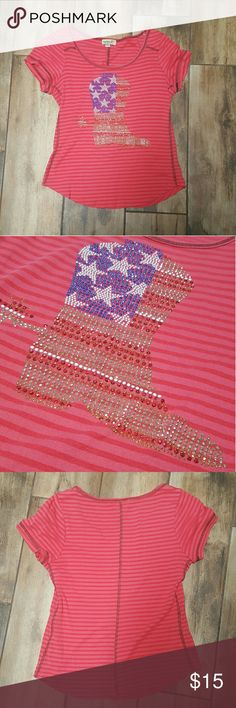 One world Rhinestone boot tee She's gone country!! A boot with a spur with American flag rhinestones, doesn't get more patriotic, unless you're drinking sweet tea. Bust 16 inches. Length 21 in. Fabric does have stretch. ONE WORLD Tops Tees - Short Sleeve