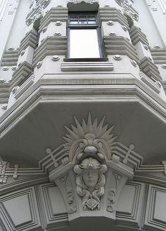 Riga, Latvia: A facade in the art nouveau district