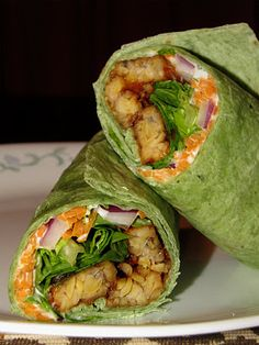 Heavenly tempeh wrap. Found the recipe from a vegan blog called The Snarky Chickpea. This recipe looks great!