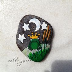 Frog Prince Painted stone by ColorJuice on Etsy, $23.00