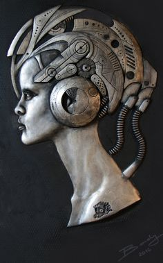 GIRL WITH FUTURISTIC HELMET by Rudyger