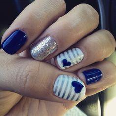 Navy Nails, Yellow Nails, Wedding Nails, Nail Art, Heart, Nail Ideas, Spa, Yellow Nail, Nail Arts