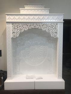 Temple Design For Home, Pinterest Home Decor Ideas, Mandir Design, Pooja Mandir, Smart Home Design, Pooja Room Door Design, Puja Room, Corian, Contemporary Interior Design