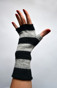 Striped Gray and Black Fingerless Gloves - Half Finger Gloves - Steampunk Striped Gloves - Fashion Gloves nO 88. on Etsy, $29.00