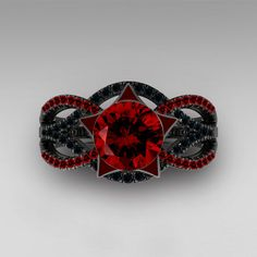 Gothic Star Style Twist Infinity Red and Black Cubic Zirconia Black Ring #gothic #gothicwedding #gothicweddingrings