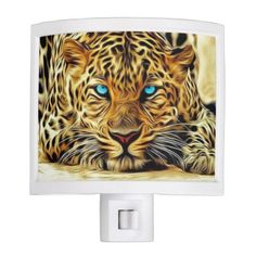 Wild Cat with Blue Eyes Night Light - animal gift ideas animals and pets diy customize