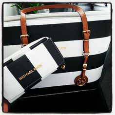 Cheap Michael Kors Jet Set Striped Travel Large Black White Totes Not Only Has High Quality But Also Fashionable And Unique Style.Come To Buy One. #michael #kors #purses