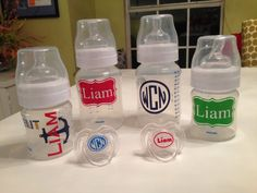 Monogrammed Baby Bottle Set by TheBabeCaveBoutique on Etsy