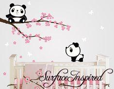 Panda muur stickers met kersenbloesem boom muur door SurfaceInspired