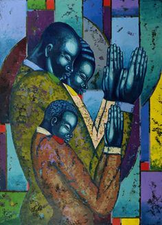 Black art prints & African American Art & Gifts Larry Poncho Brown - Faithful Family - Artist proof edition print 28 x S/N 100 African American Artist, American Artists, African Art, African Paintings, Black Love Art, Black Artwork, Brown Art, Afro Art, Art Gallery