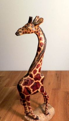 Giraffe Figurine Hand Carved Wood