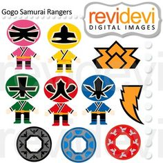 Rangers samurai in red, green, blue, and pink and yellow too! These japanese superheroes are so cool! These digital images are great for any craft and creative projects (first birthday, etc) Power Ranger Cupcakes, Power Ranger Party, Power Ranger Birthday, Superhero Clipart, Superhero Party, Classroom Projects, Classroom Decor, Fun Projects, Power Rangers Samurai