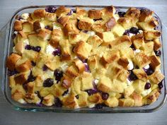 Overnight Blueberry French Toast Casserole- Delicious and easy to make, great for busy holiday mornings!