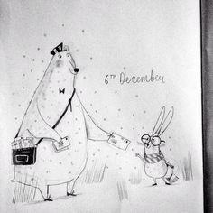 Alex T Smith - Christmas Advent - #illo_advent - Polar Bear - Bunny - Mail