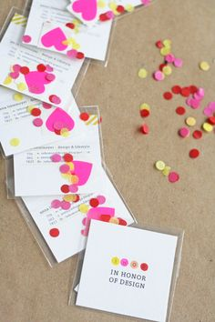Business cards with confetti