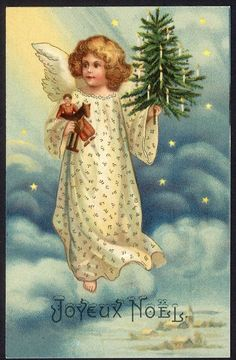 Beautiful Little CHRISTMAS ANGEL with Tree c 1910 Joyeux Noel Chromolithograph #Christmas