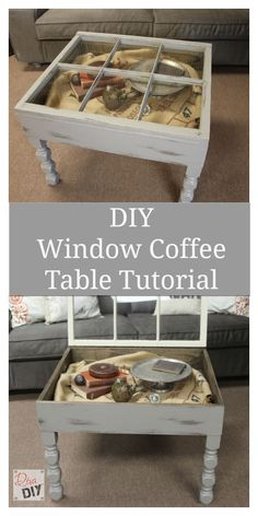 Make your own coffee table using an old window with this DIY window coffee table tutorial