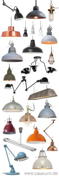 23 Industrielampen und eine Tischleuchte *  23 industrial style pendant lights and one table lamp: