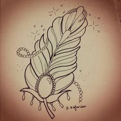 Girly feather tattoo- Maybe I can draw it or add some color