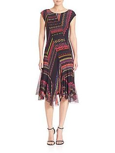 Fuzzi Asymmetrical Striped Panel Dress