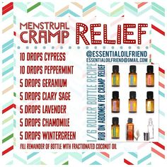 Menstrual cramp relief Roller bottle recipe DoTERRA Plant therapy Edens garden Young living Essential oils