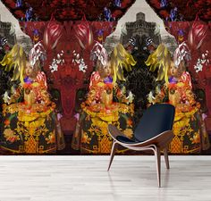 kerrie brown patterns wallpaper prints with theatrical, gritty-graffiti graphics