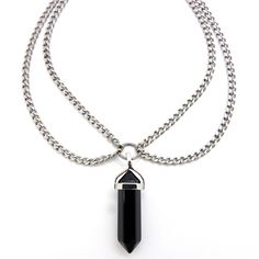 A stainless steel double chain choker with Black Obsidian double pointed crystal pendant.Adjustable size