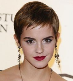Pixie haircut with a torn fringe