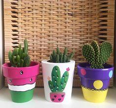 Colorful cactus art planters #succulentart