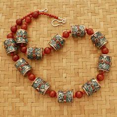 """Joyas tibetano nepal an01 diseño hecho a mano de color turquesa collar de cornalina 25"""" desde nepal tíbet"""