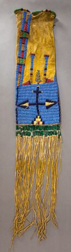 American Indian Art:Beadwork and Quillwork, A Sioux Beaded Hide Tobacco Bag. c. 1885...