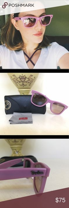 Pink Ray-Ban Wayfarers! Pink Ray-Bans! Wayfarer style. Case included. Great condition... a tiny scratch, hardly noticeable at all on the left lens just thought I'd mention. Does not affect your view! Very stylish sunglasses! Ray-Ban Accessories Sunglasses