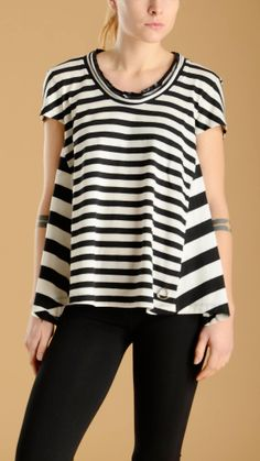Short sleeve, asymmetric, flared black stripe T-shirt with tech fabric inset at ruffle crew neckline, 100% cotton, inset.
