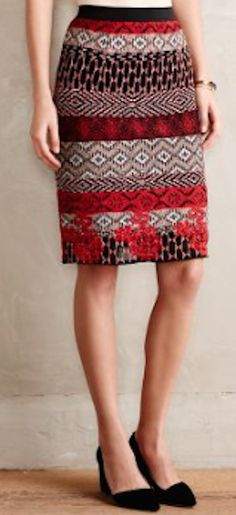 pretty red tapestry pencil skirt http://rstyle.me/n/sfer5r9te