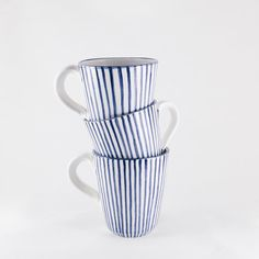 Blue stripes coffee mug with handle  blue and by AmenamenStudio