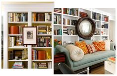 Great ideas for bookcase styling. Love the mirror hung on the bookcase, a different shape added to the many right angles.