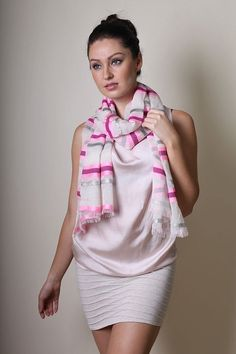 Women's Jazzy Sparkle Silver Pink Stripe Shimmer Scarf Fashion Shawl at Amazon Women's Clothing store: Fashion Scarves