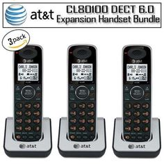 AT CL80100 DECT 6.0 Three Pack Accessory Handset for CL Cordless Phones by AT $64.95. The AT CL80100 DECT 6.0, expansion handset is Offering you superior call quality and range, this sleek handset is a great addition to your existing phone system.   The 50 name/number caller ID history ensures that you never miss an important call and equalizer that lets you choose from 4 preset audio profiles for customized audio. Additional features include call transfer, 5 number ...