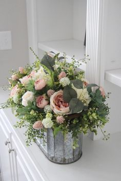 French Country Floral Arrangement~Cottage Decor~Large Table Centerpiece~Roses~Hydrangeas~Peonies and Greenery in a Galvanized Pail – farmhouse decor flowers Beautiful Flower Arrangements, Fresh Flowers, Silk Flowers, Spring Flowers, Floral Arrangements, Beautiful Flowers, Country Flower Arrangements, Deco Floral, French Country Decorating