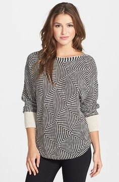 NIC+ZOE 'Global Tuck' Sweater (Regular & Petite) at Nordstrom.com. A twin geometric knit adds interest to a slouchy dolman-sleeve pullover with solid ribbed sleeves and a curved hem.