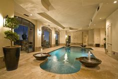 Indoor Swimming Pool Layout Concepts To Whet Your Appetite Spectacular Images). There are few aspects of a home that are as luxurious as an indoor swimm Tuscan Style Homes, Tuscan House, Indoor Swimming Pools, Swimming Pool Designs, Outdoor Pool, Indoor Outdoor, Inside Pool, Piscina Interior, Home Decoracion