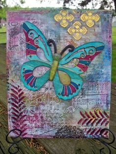 """Mixed Media Canvas - Wood Butterfly 8""""x10"""" $35"""