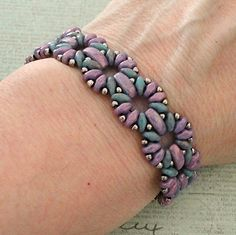Linda's Crafty Inspirations: Bracelet of the Day: Claudia - Purple & Turquoise