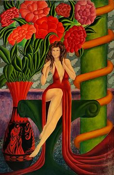 Classic Elegance, original oil painting by John Entrekin, 36 x 24 inches, wall art, abstract art, red gown,female figure, flowers, urn by JohnEntrekin on Etsy