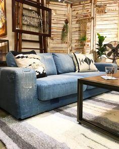 Outdoor Sofa, Outdoor Furniture, Outdoor Decor, Denim Sofa, Denim Wedding, Living Room With Fireplace, Couch, Throw Pillows, Interior Design