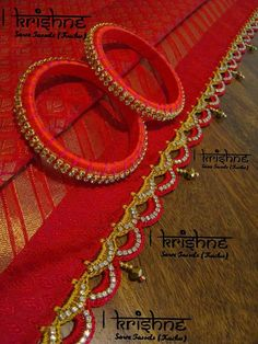 Love this edging! Saree Tassels Designs, Saree Kuchu Designs, Embroidery Stitches Tutorial, Hand Embroidery, Dress Makeover, Hand Work Blouse Design, Saree Jewellery, Silk Thread Bangles, Saree Border